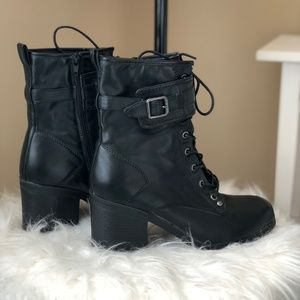 G By Guess Black Combat Boots 7.5
